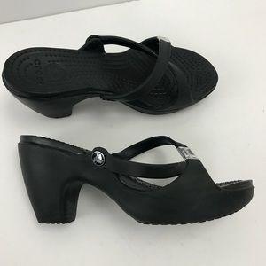 Crocs 10W Black Cross Strap Platform Heeled Sandal